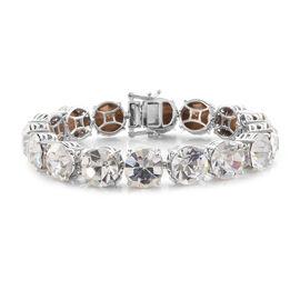 J Francis - Crystal from Swarovski  White Colour Crystal (Rnd) Tennis Bracelet (Size 7.5) in Platinum Plated
