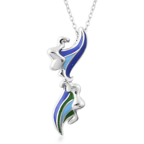 Isabella Liu Embrace Scar Collection - Rhodium Overlay Sterling Silver Enamelled Pendant with Chain