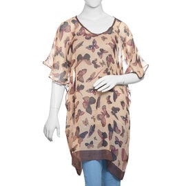 Beige, Chocolate and Multi Colour Butterfly Pattern Kaftan (Size 85x65 Cm)