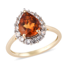 9K Yellow Gold AA Madeira Citrine and Natural Cambodian Zircon Ring 2.10 Ct.