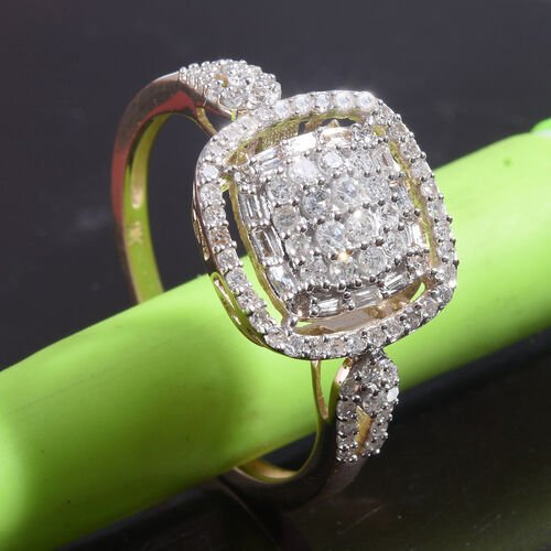 9K Yellow Gold SGL Certified Diamond (I3/G-H) Cluster Ring 0.50 Ct.