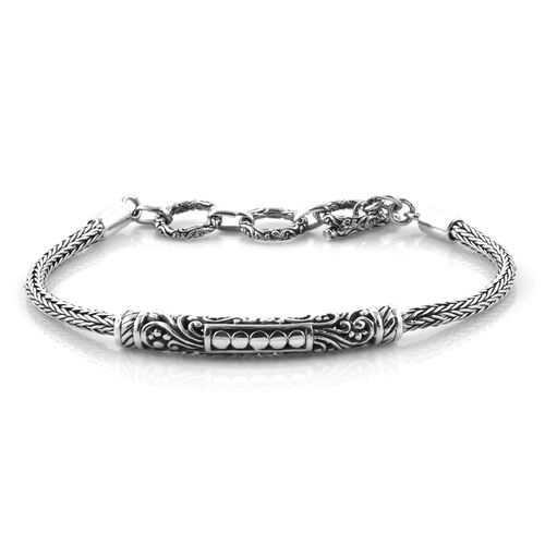 Royal Bali Collection Sterling Silver Tulang Naga Bracelet (Size 7 inch - 8 inch with Extender), Sil