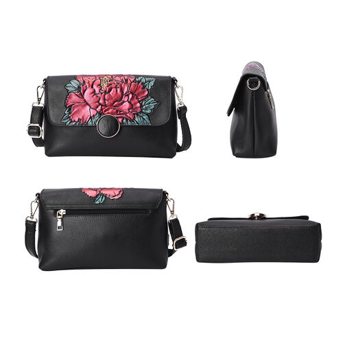 100% Genuine Leather Red Peony Embossed Pattern Crossbody Bag (25x18x7cm) with Magnetic Closure in Black