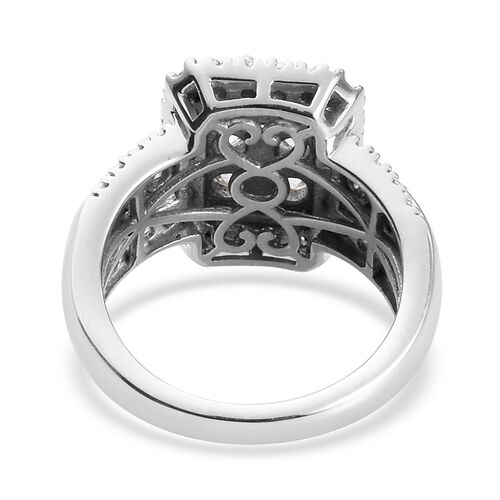 J Francis Platinum Overlay Sterling Silver Cluster Ring Made with SWAROVSKI ZIRCONIA 3.20 Ct, Silver wt 5.80 Gms