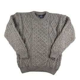 ARAN 100% Pure New Wool Sweater grey