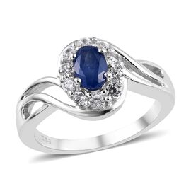 Burmese Blue Sapphire (Ovl 6x4 mm) and Natural White Cambodian Zircon Ring in Platinum Overlay Sterl