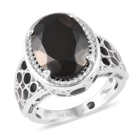 GP Elite Shungite (Ovl),  Blue Sapphire Enamelled Ring in Platinum Overlay Sterling Silver 3.50 Ct,
