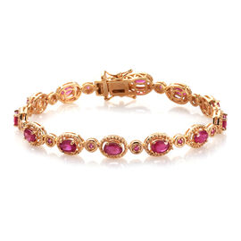 African Ruby Bracelet (Size 7) in 14K Gold Overlay Sterling Silver 7.40 Ct, Silver wt. 12.10 Gms