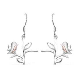 Rose Gold and Platinum Overlay Sterling Silver Hook Earrings (with Push Back)
