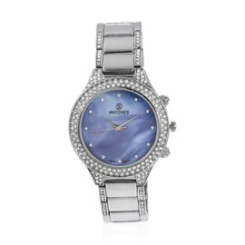 STRADA Japanese Movement Water Resistant White Austrian Crystal Studded Watch in Silver Plated Stain
