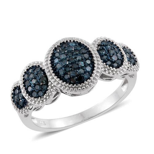 Diamond Platinum Overlay Sterling Silver Ring  0.500  Ct.