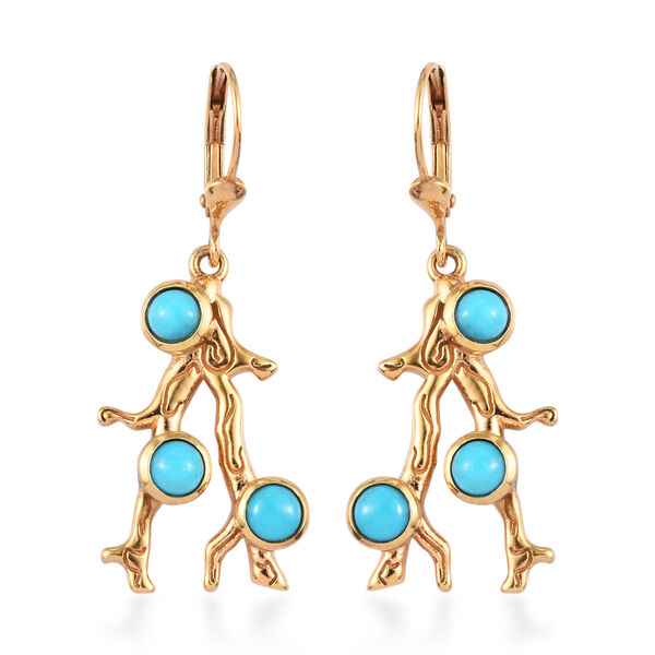 Sundays Child- Coral Collection-  Arizona Sleeping Beauty Turquoise Lever Back Earrings in 14K Gold