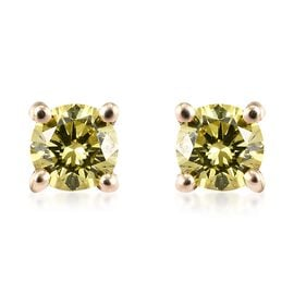 9K Yellow Gold Yellow Diamond (Rnd) Stud Earrings (with Push Back)