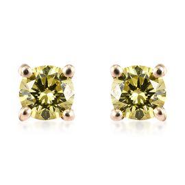 9K Yellow Gold Yellow Diamond (Rnd) Stud Earrings (with Push Back)