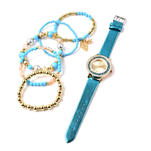 6 Piece Set - STRADA Japanese Movement Moving Turquoise Austrian Crystal Water Resistant Watch with