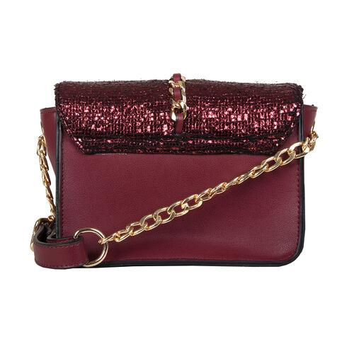Bulaggi Collection - Calla Crossbody Bag with Metallic Pattern Flap and Adjustable Shoulder Strap (17x13x8cm) - Burgundy