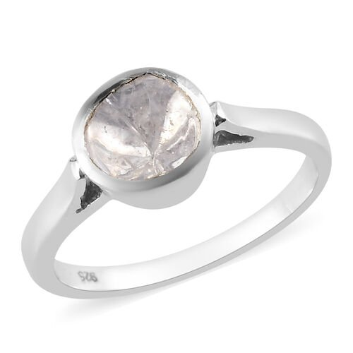 0.20 Ct Polki Diamond Solitaire Ring in Platinum Plated Sterling Silver