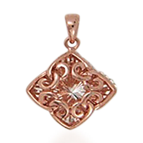 Rose Gold Overlay Sterling Silver Filigree Pendant