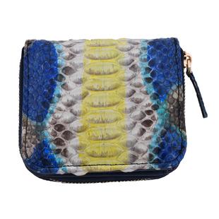 LA MAREY 100% Genuine Python Leather  Wallet with Zipper Closure (Size 11x10x2cm) - Yellow & Multi