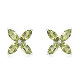 Hebei Peridot (Mrq) Stud Earrings (with Push Back) in Sterling Silver 5.000 Ct.