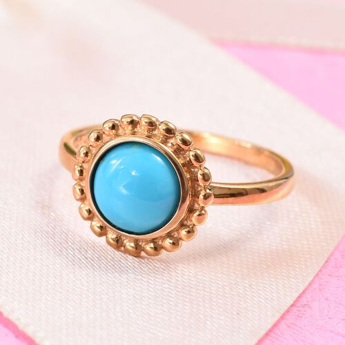 Arizona Sleeping Beauty Turquoise (Rnd) Floral Ring in 14K Gold Overlay Sterling Silver 1.15 Ct.