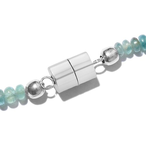 Extremely Rare Grandidierite Necklace (Size 18) with Magnetic Lock in Platinum Overlay Sterling Silver 64.800 Ct.