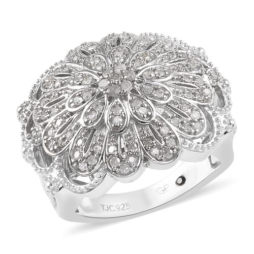GP 0.52 Ct Diamond and Blue Sapphire Floral Ring in Platinum Plated Silver
