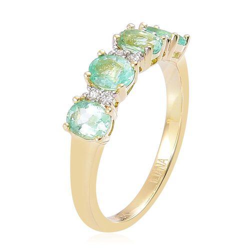 ILIANA 18K Yellow Gold AAA Boyaca Colombian Emerald (Ovl), Diamond (SI/G-H) Ring 1.500 Ct.