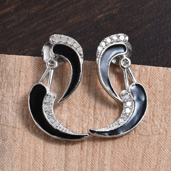 GP - Diamond (Rnd) and Blue Sapphire Enamelled Detachable  Earrings (with Push Back) in Platinum Overlay Sterling Silver