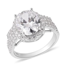 ELANZA Simulated Diamond Halo Ring in Rhodium Plated Sterling Silver 5 Grams