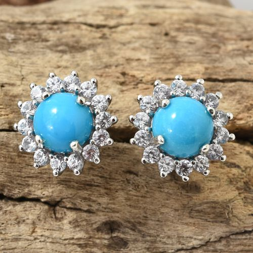 Arizona Sleeping Beauty Turquoise (Rnd), Natural Cambodian Zircon Stud Earrings (with Push Back) in Platinum Overlay Sterling Silver 5.000 Ct.