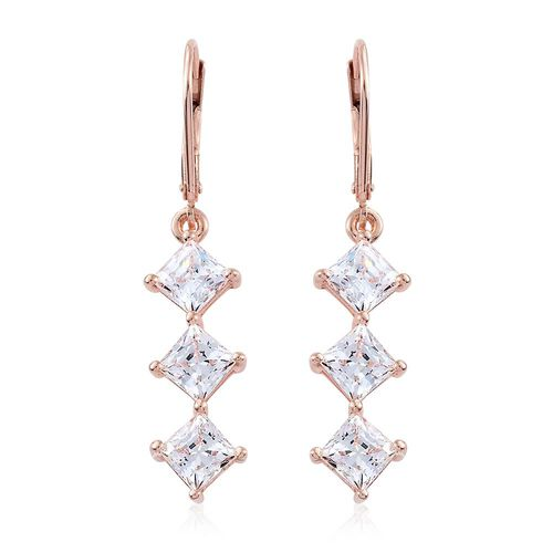 J Francis - Rose Gold Overlay Sterling Silver (Princess) Lever Back Earrings Made with SWAROVSKI ZIRCONIA