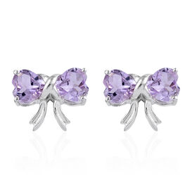 Rose De France Amethyst (Hrt) Bow Knot Earrings (with Push Back) in Platinum Overlay Sterling Silver 3.000 Ct.