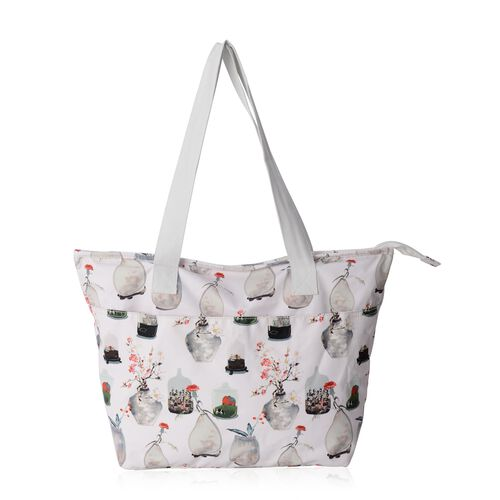Water Resistant  Glamour Vase Pattern Large Weekend Bag (Size 47x33x32x14.5 Cm).