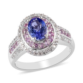 Premium Tanzanite, Pink Sapphire and Natural Cambodian Zircon Ring in Platinum Overlay Sterling Silv