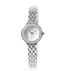 ETERNITY - Ladies Swarovski Studded Watch With White Dial in Silver Tone