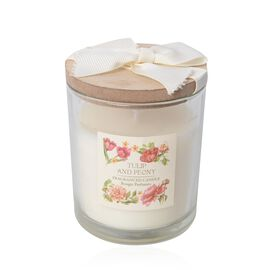 Fragrance Candle with Wooden Cover (Tulip and Peony Fragrance)