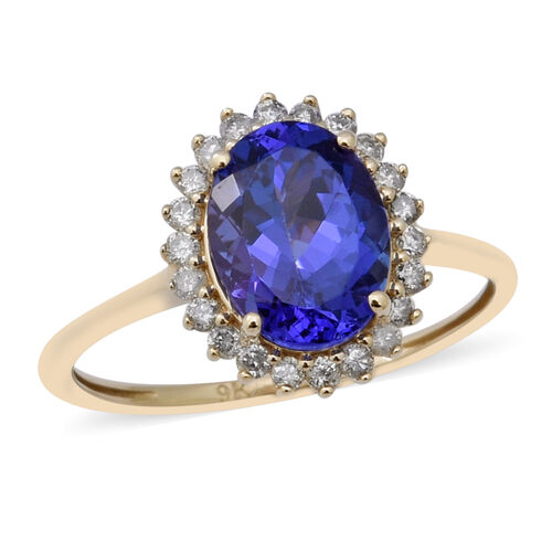 Elite Collection-  9K Yellow Gold AAA Tanzanite and Diamond Ring 2.25 Ct.
