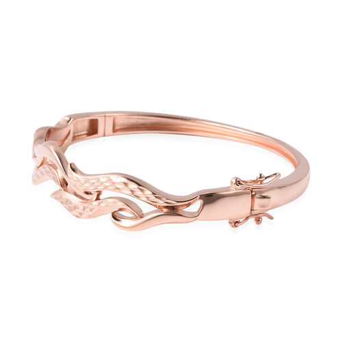 LucyQ Flame Collection - Rose Gold Overlay Sterling Silver Diamond Cut Bangle (Size 7), Silver wt. 22.21 Gms