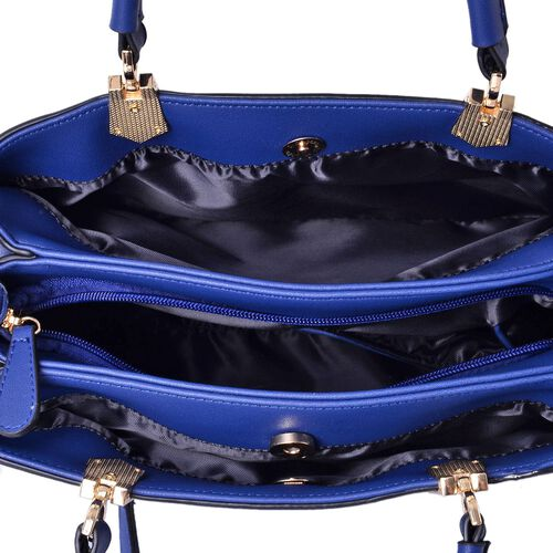 Darley Blue Tote Bag with External Zipper Pocket and Adjustable and Removable Shoulder Strap (Size 30x27x22.5x13 Cm)