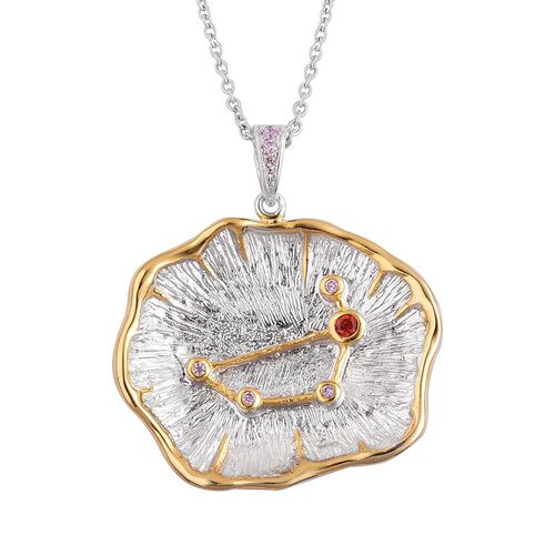 Designer Inspired AAA Simulated Pink Sapphire and Simulated Garnet ZODIAC Capricon Constellation Pendant with Chain in Silver Tone with Stainless Steel