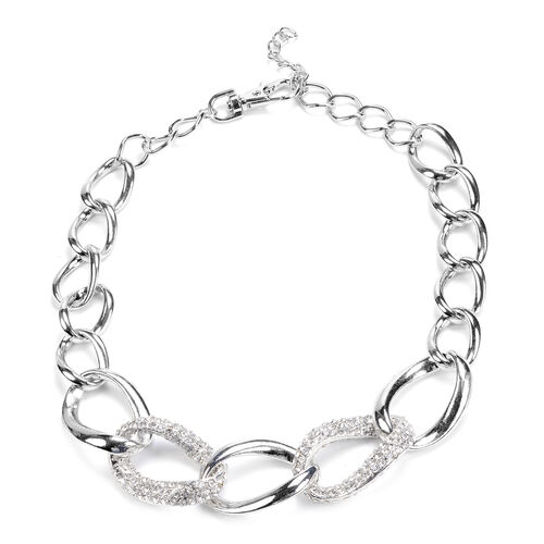 White Austrian Crystal Necklace (Size 21) in Silver Tone
