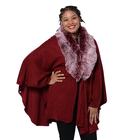 Designer Inspired Cape with Faux Fur Collar (One Size, L: 80cm) - Wine Red Colour
