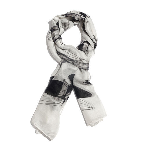 100% Mulberry Silk Black and Off White Colour Hand Screen Butterfly and Dragonfly Printed Scarf (Siz