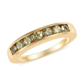 ILIANA 1 Carat AAA Russian Demantoid Garnet Half Eternity Band Ring in 18K Yellow Gold 4.40 Grams