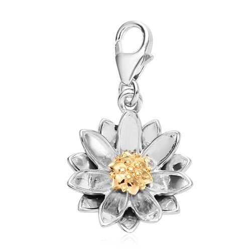 Water Lily July Birth Flower Charm in Gold Plated Sterling Silver