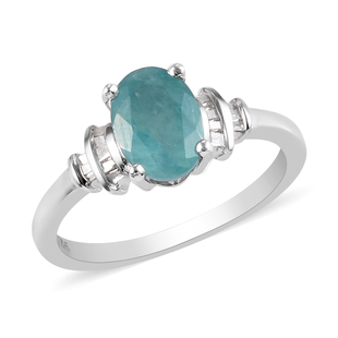 Grandidierite and Diamond Ring in Platinum Overlay Sterling Silver 1.25 Ct.