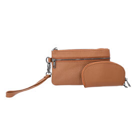 2 Piece Set - 100% Genuine Leather Wristlet Bag (Size 15x3x9cm) and Key/Coin Bag (11x6cm) - Tan