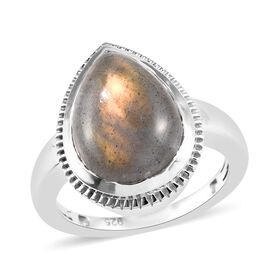 100% Natural Bokonaky Fire Labradorite (Pear 14x10 mm) Solitaire Ring in Platinum Overlay Sterling S