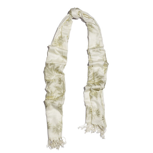 Off White Colour Leaf Pattern Scarf (Size 200x70 Cm)